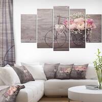 Ranunculus Flowers in Bicycle Vase' Floral Canvas Artwork Print - Grey