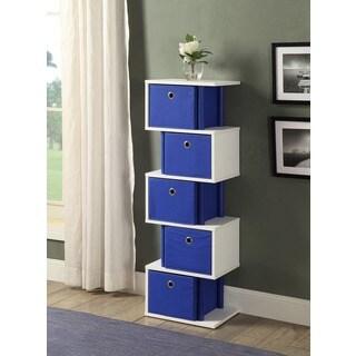 White Wood and Polyester Zigzag 5-drawer Storage Unit (Option: Yellow Finish)