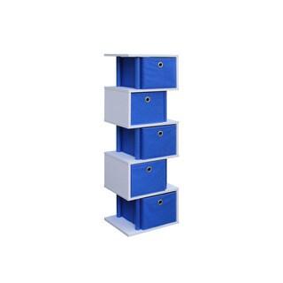 White Wood and Polyester Zigzag 5-drawer Storage Unit