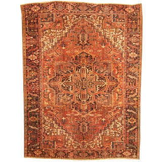 Herat Oriental Antique 1920's Persian Hand-knotted Heriz Wool Rug (8'7 X 11'5)