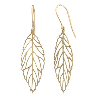 Fremada 14k Yellow Gold High Polish Leaf Drop Earrings