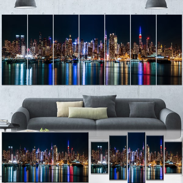 Designart New York City Skyline Panorama 5 Piece Wall: Designart 'New York Midtown Night Panorama' Extra Large