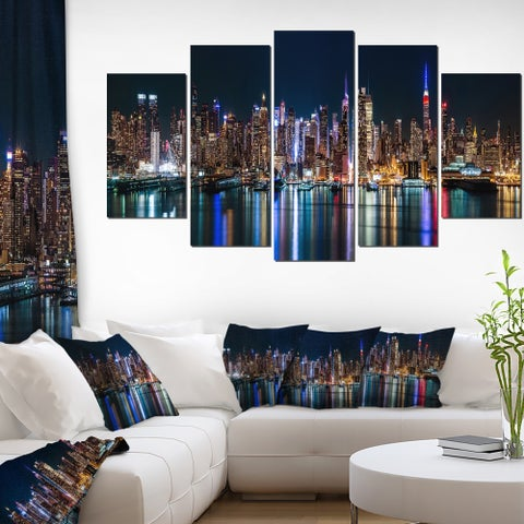 New York Midtown Night Panorama' Cityscape Wall Art on Canvas - black/gold/blue