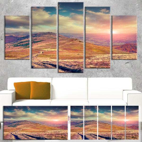 Designart 'Amazing Autumn Landscape in Hills' Large Landscape Art Canvas Print - White