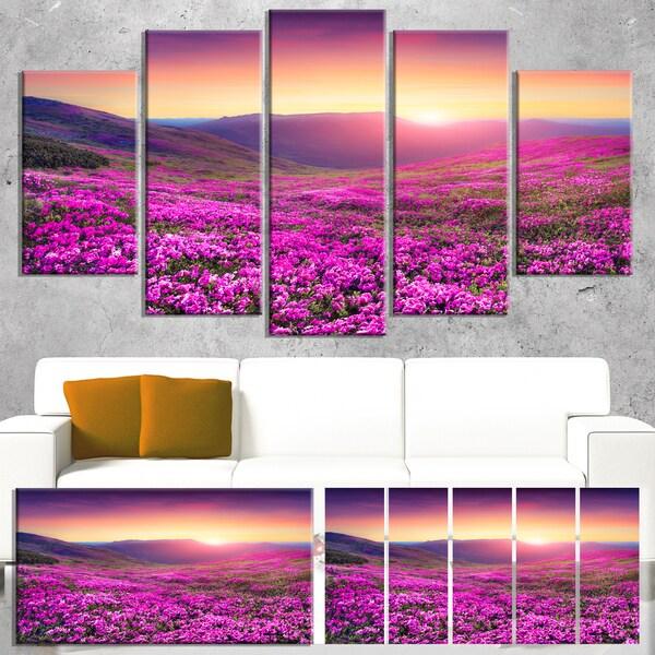 Designart 'Purple Rhododendron Flowers in Mountains' Large Landscape Art Canvas Print