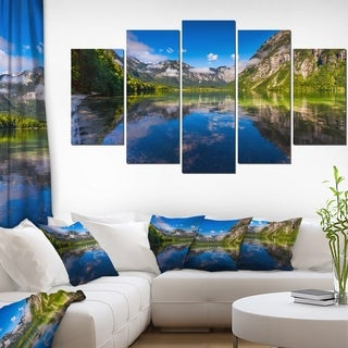 Bohinj Lake in Triglav National Park' Large Landscape Art Canvas Print - Blue