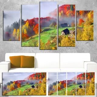 Designart 'Colorful Autumn Landscape in Mountains' Large Landscape Art Canvas Print