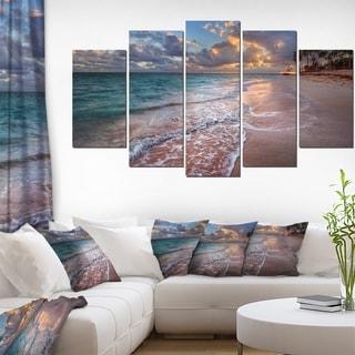 Designart 'Palm Trees on Clear Sandy Beach' Seashore Art Print on Canvas