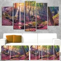 Designart 'Autumn Morning in Mystical Woods' Large Landscape Art Canvas Print - Purple