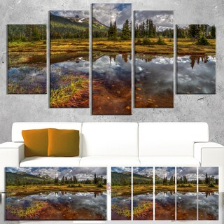 Designart 'Clear Lake Mirroring Cloudy Skies' Extra Large Landscape Art Canvas - Green