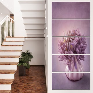 Designart 'Autumn Purple Flower in Vase' Floral Canvas Artwork Print