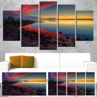 Designart 'Blasts of Color at the Sunset' Seashore Art Print on Canvas