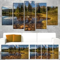 Designart 'Bright Clear Day and Clear Lake' Extra Large Landscape Art Canvas - Green