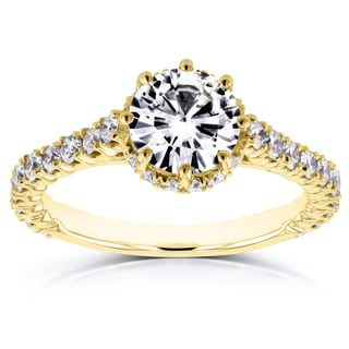 Annello by Kobelli 14k Yellow Gold 1 3/5ct TCW Forever Brilliant Moissanite and Diamond 8-Prong Standing Halo Ring (GH, I1-I2)