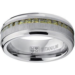 Oliveti Men's Titanium Simulated Peridot Princess-cut Cubic Zirconia Ring Band
