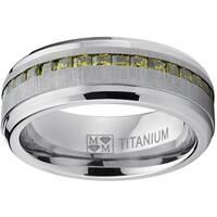 Oliveti Men's Titanium Simulated Peridot Princess-cut Cubic Zirconia Ring Band