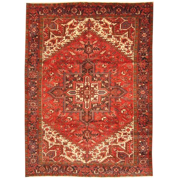 Herat Oriental Antique 1940's Persian Hand-knotted Heriz Wool Rug (8'3 x 11'3)