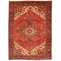 Herat Oriental Antique 1940's Persian Hand-knotted Heriz Wool Rug (8'3 x 11'3)