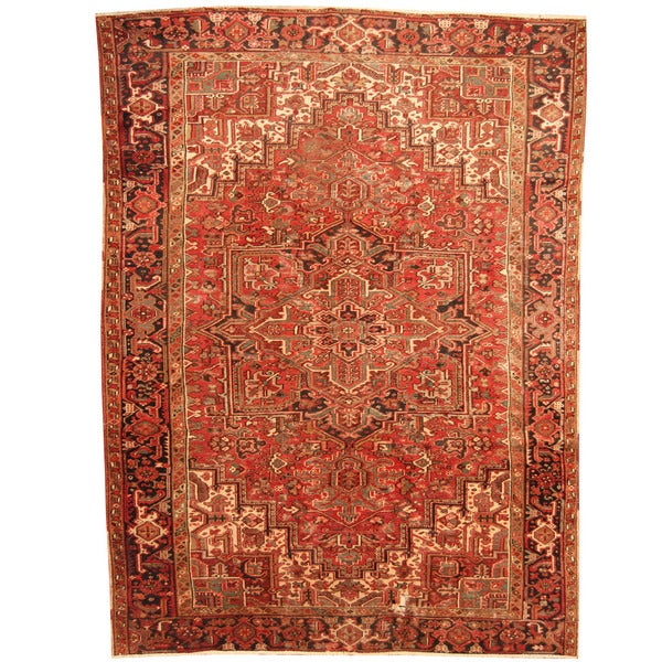 Vintage Persian Heriz Design Wool Area Rug: Shop Herat Oriental Antique 1920's Persian Hand-knotted
