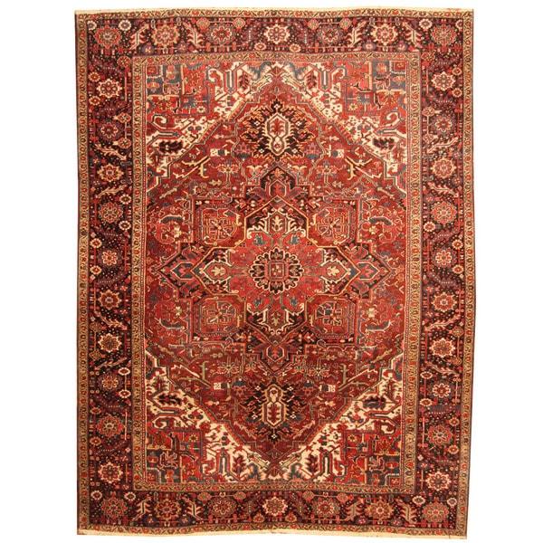 Handmade Herat Oriental Antique 1920's Persian Heriz Wool Rug - 8'9 x 11'6 (Iran)