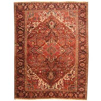 Herat Oriental Antique 1920's Persian Hand-knotted Heriz Wool Rug (8'9 x 11'6)