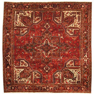 Herat Oriental Antique 1940's Persian Hand-knotted Heriz Wool Rug (8'9 x 8'9)