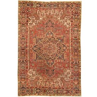 Herat Oriental Antique 1920's Persian Hand-knotted Heriz Wool Rug (7'7 x 11'3)