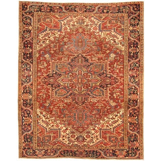 Herat Oriental Antique 1920's Persian Hand-knotted Heriz Wool Rug (7'10 x 9'8)