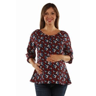 24/7 Comfort Apparel Women's Red, White and Blues Lightweight Maternity Top