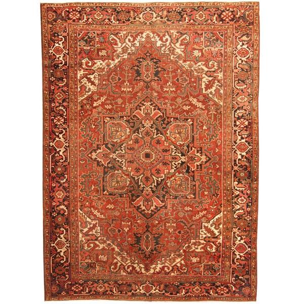 Handmade Herat Oriental Antique 1920's Persian Heriz Wool Rug (Iran) - 8'6 x 11'8