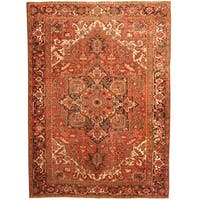 Herat Oriental Antique 1920's Persian Hand-knotted Heriz Wool Rug (8'6 x 11'8)