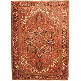 Herat Oriental Antique 1920's Persian Hand-knotted Heriz Wool Rug (8'6 x 11'8)