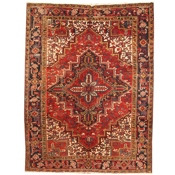 Herat Oriental Antique 1940's Persian Hand-knotted Heriz Wool Rug (7'10 x 10')