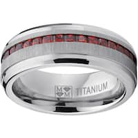 Oliveti Horizontal Brushed-finish Titanium and Simulated garnet Princess-cut Cubic Zirconia Men's Ring