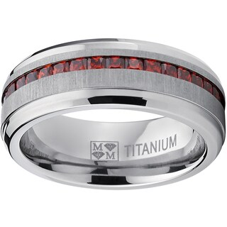 Oliveti Horizontal Brushed-finish Titanium and Simulated garnet Princess-cut Cubic Zirconia Men's Ring (More options available)