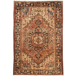 Herat Oriental Antique 1940's Persian Hand-knotted Heriz Wool Rug (7'4 x 11')