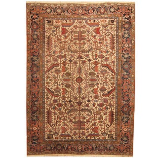 Herat Oriental Antique 1910's Persian Hand-knotted Heriz Wool Rug (7'10 x 10'10)