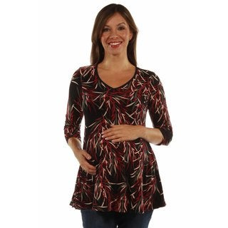 24/7 Comfort Apparel Women's Soft Rayon from Bamboo Print Maternity Tunic Top
