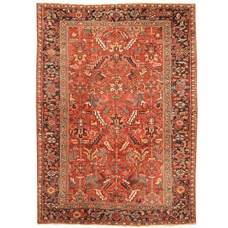 Herat Oriental Antique 1920's Persian Hand-knotted Heriz Wool Rug (7'7 x 10'4)