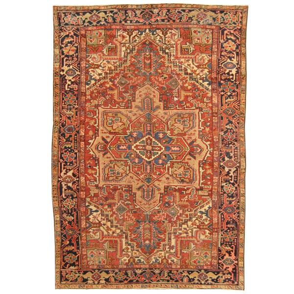 Vintage Persian Heriz Design Wool Area Rug: Shop Herat Oriental Antique 1910's Persian Hand-knotted