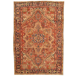 Herat Oriental Antique 1910's Persian Hand-knotted Heriz Wool Rug (6'10 x 10'3)