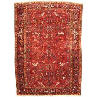 Herat Oriental Antique 1920's Persian Hand-knotted Heriz Wool Rug (8' x 11'2)