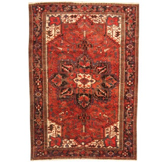 Herat Oriental Antique 1940's Persian Hand-knotted Heriz Wool Rug (7'9 x 10'9)