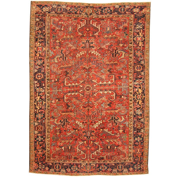 Hand Knotted Persian Wool Area Rug 5 10: Herat Oriental Antique 1920's Persian Hand-knotted Heriz