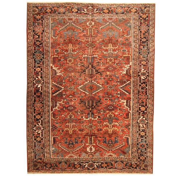 Vintage Persian Heriz Design Wool Area Rug: Herat Oriental Antique 1920's Persian Hand-knotted Heriz