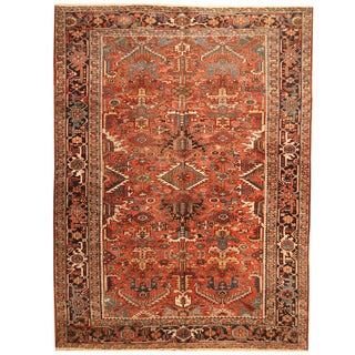 Herat Oriental Antique 1920's Persian Hand-knotted Heriz Wool Rug (7'11 x 10'9)
