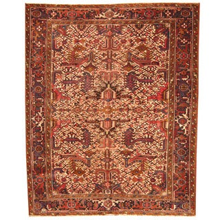 Herat Oriental Antique 1920's Persian Hand-knotted Heriz Wool Rug (7' x 8'10)