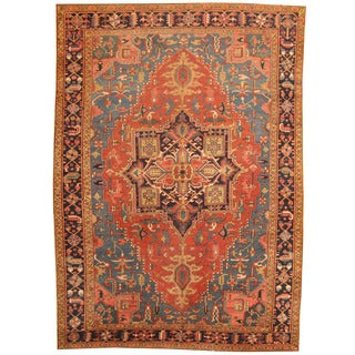 Herat Oriental Antique 1900's Persian Hand-knotted Heriz Wool Rug (7'9 x 10'9)