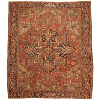 Herat Oriental Antique 1920's Persian Hand-knotted Heriz Wool Rug (7'7 x 8'6)