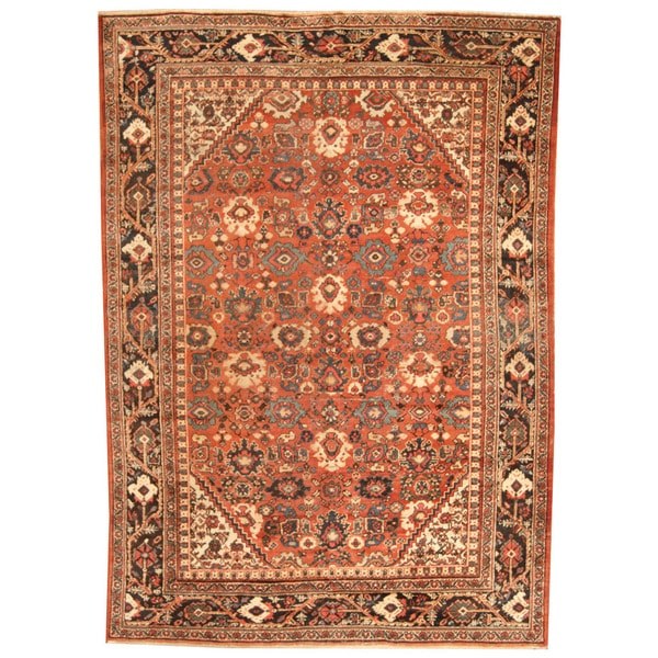Herat Oriental Antique 1920's Persian Hand-knotted Mahal Wool Rug (7 x 9'10)